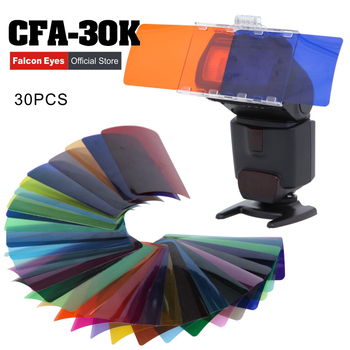 Falcon Eyes CFA-30K Kit Flash Speedlite 30 Colors Color with Barndoor & Reflector & Bag for C YONGNUO GODOX flash CD50 image