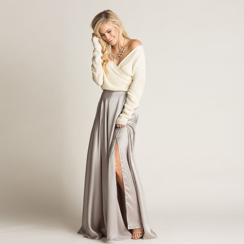 Fashion Long Silk Satin Skirt For Women With Middle Side Split Elegant Light Gray Female Skirts