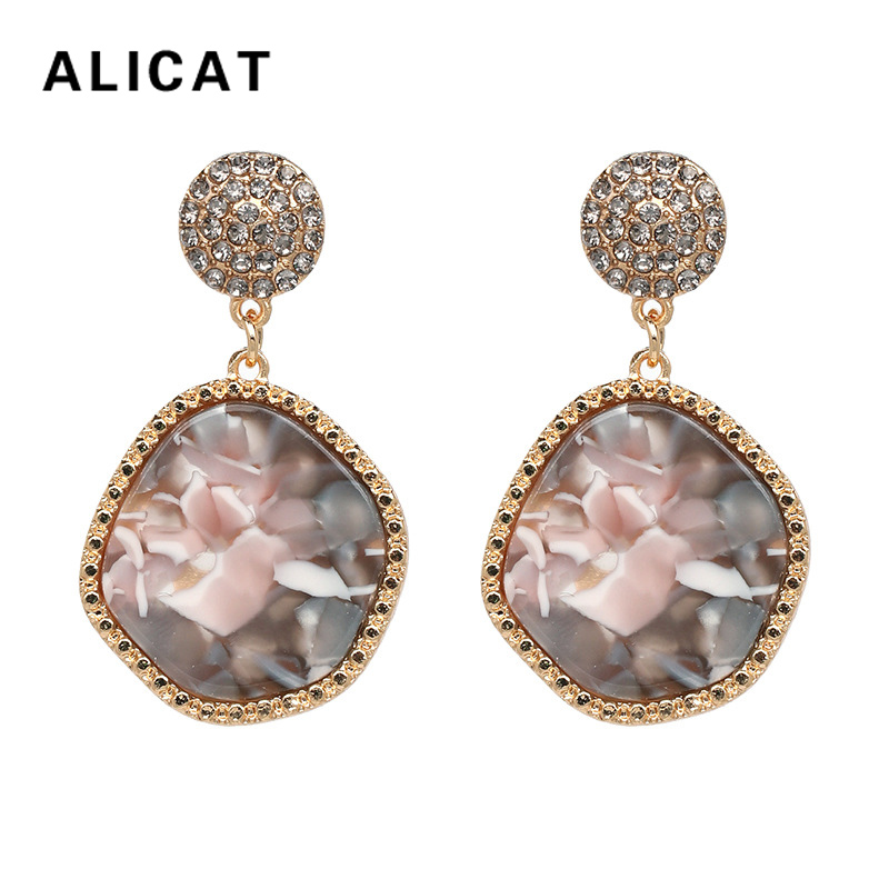 Acrylic Round Earrings Korean Fashion Ethnic Multilayer Color Round Dangle Earring 2018 Elegant Jewelry For Women Accessories