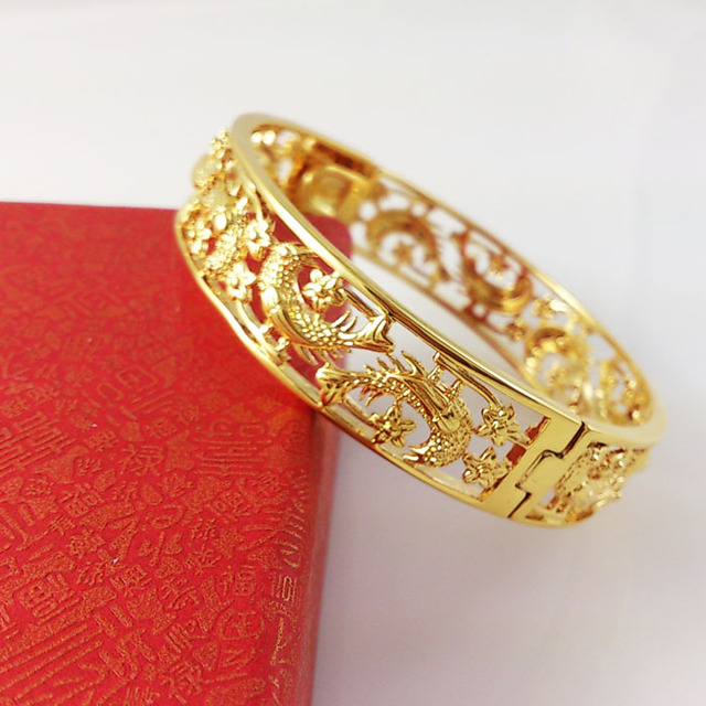 Fashion Plating Gold Bracelets Cuff Bangles Chinese Style Dragon