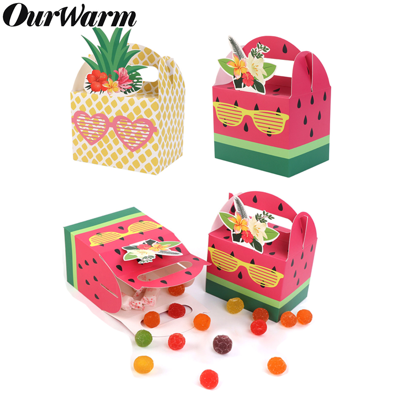 OurWarm 10pcs Candy Boxes Pineapple Watermelon Candy Boxes For Birthday Baby Shower Wedding Decor Hawaiian Party Favor