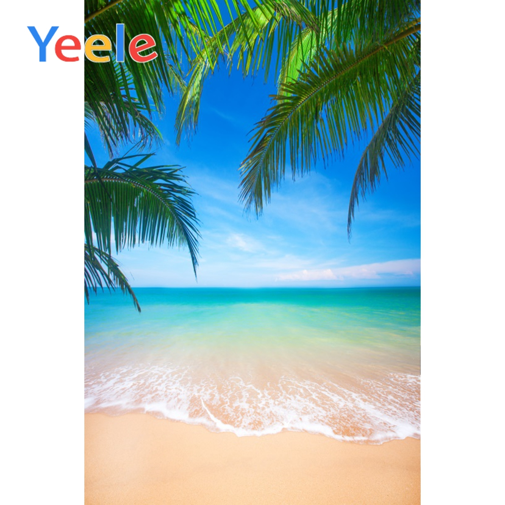Yeele Tropical Seaside Photograph Backdrops Blue Sky Beach Palm Trees Children Party Photographic Backgrounds For Photo Studio in Background from Consumer Electronics