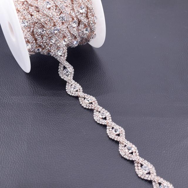 Hot Sale Fashion Crystal Rhinestone Cup Chain Trimming Bridal Dress  Decoration For Wedding Dresses Garment AppliqueFancy HF-383 cdc330bcda0f