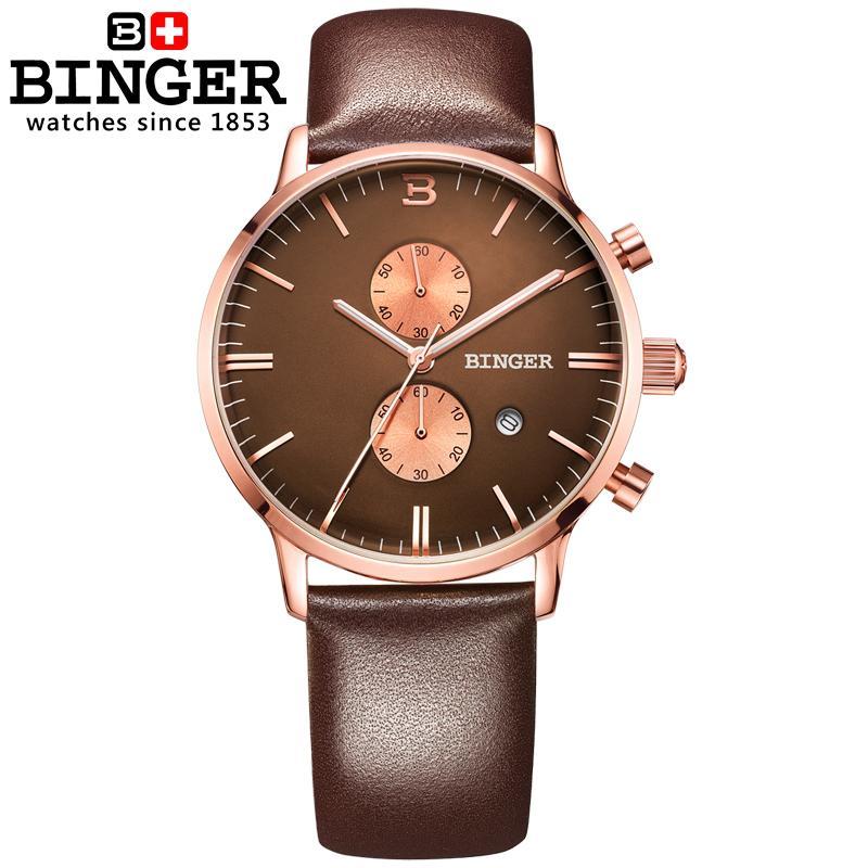 Szwajcaria zegarki luksusowe marki zegarki na rękę BINGER Zegarek - Męskie zegarki - Zdjęcie 2