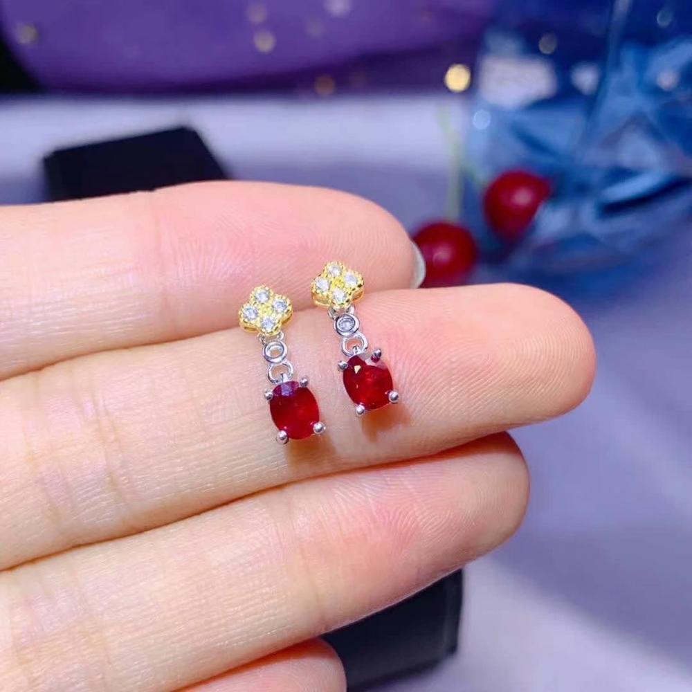 Shilovem 925 Real Natural Ruby Drop Earrings Fine Jewelry Trendy Plant Women Party New Gift 4*5mm De0405294agh
