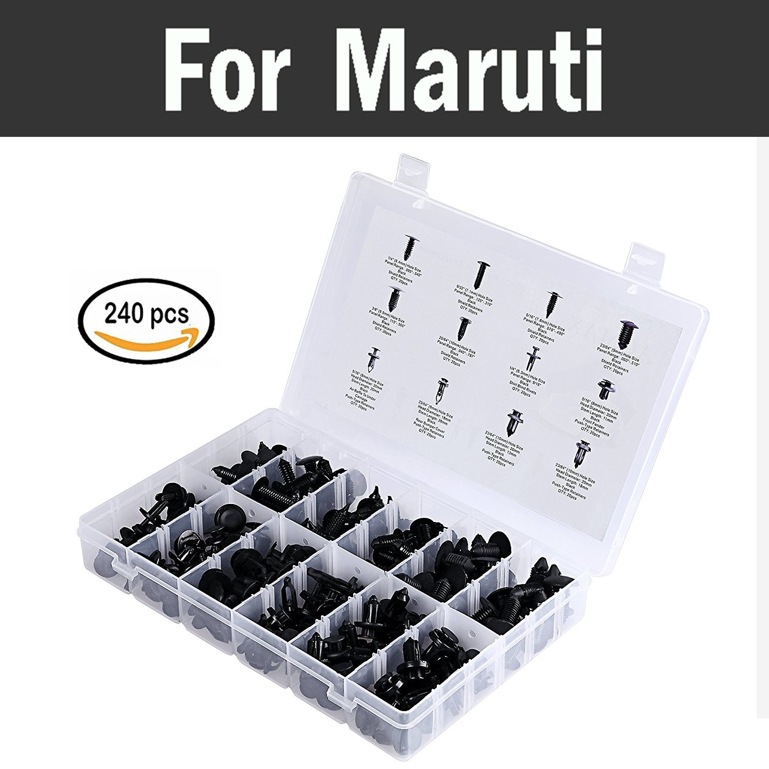 240pcs 12most Popular Sizes Set Car Retainer Clips Kit Fastener Remover Trim Set For Maruti 800 Alto Baleno Esteem Gypsy Zen