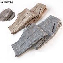Толстые шерстяные штаны новые осенние зимние теплые женские брюки с высокой талией Pantalon Femme Повседневные женские полосатые шаровары WP116