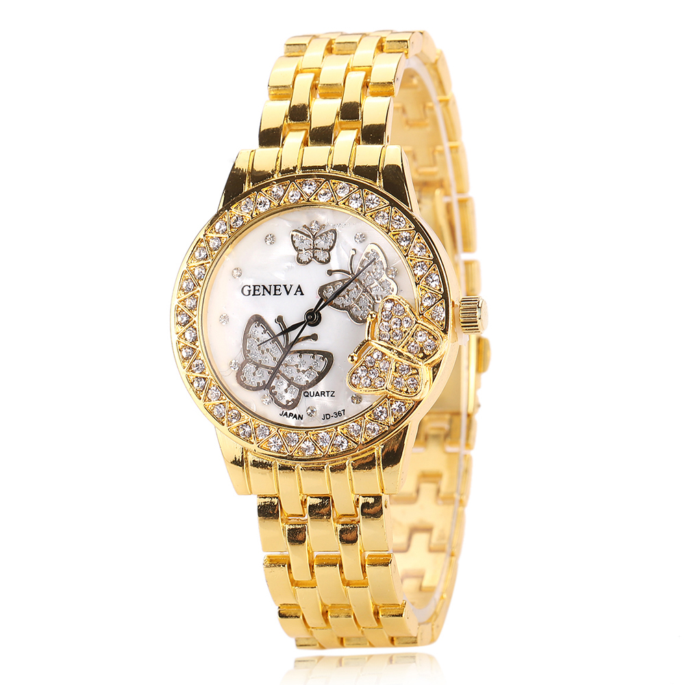 2020 New Brand Gold Geneva Casual Quartz Watch Men And Women Stainless Steel Dress Watches Anaglyph Butterfly Design