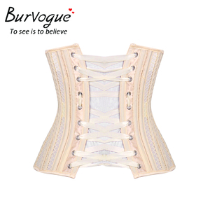 Image 5 - Burvogue Double Steel Boned Underbust Corset Breathable Waist Control Slimming Corset Sexy Lace Up Corset & Bustiers for Women