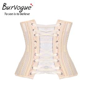 Image 5 - Burvogue podwójne stal bez kości biustem gorset oddychająca talii gorset wyszczuplający Sexy Lace Up gorset i gorsety dla kobiet