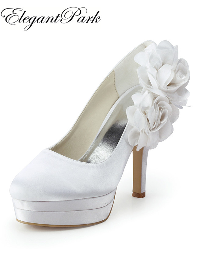 цена на Women Pumps EP11089-2PF White Ivory high heel Wedding bridal Shoes Platforms Flower Satin lady female party pumps red blue