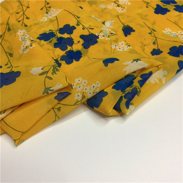 150cm wide branches small floral print chiffon fabric for summer ...