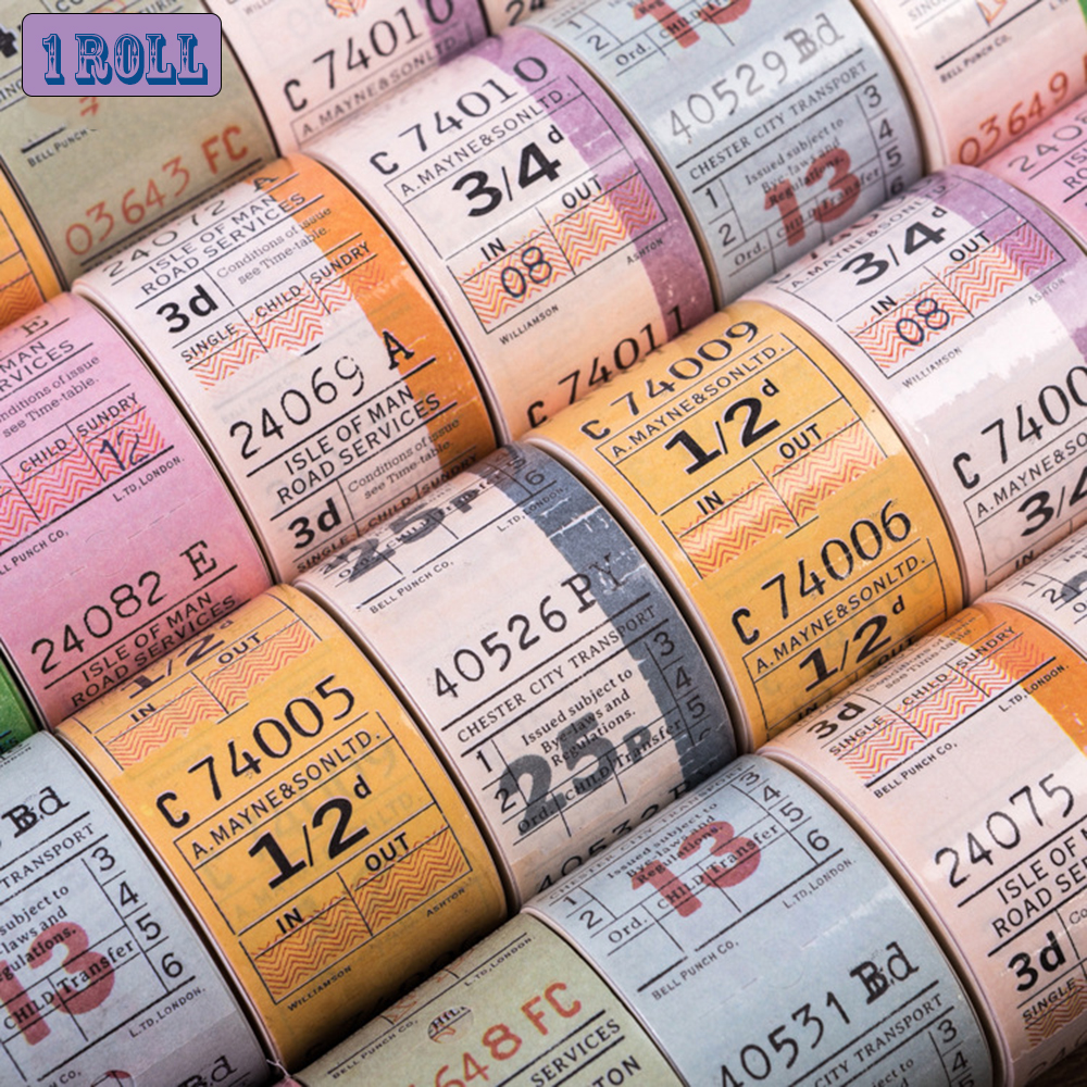 1 Roll Vintage English Tickets Series Retro Decorative Sticker Tearable Functional Tape Handwritten Diary Label Scrapbooking