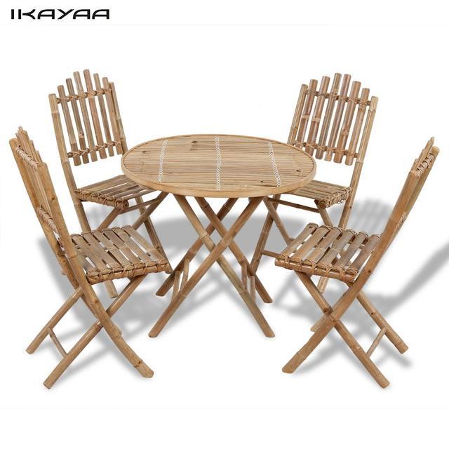 IKayaa Juego de Jardín plegable conjunto con una mesa y 4 sillas de ...