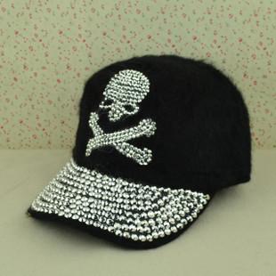 Boné de beisebol do chapéu feminino verão crânio de diamante