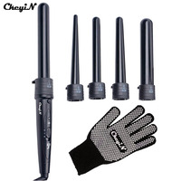 CkeyiN New 5 Part Hair Curling Iron Machine 5P Ceramic Hair Curler Set 5 Sizes 09 32mm Curling Wand Rollers With Glove Clips 25