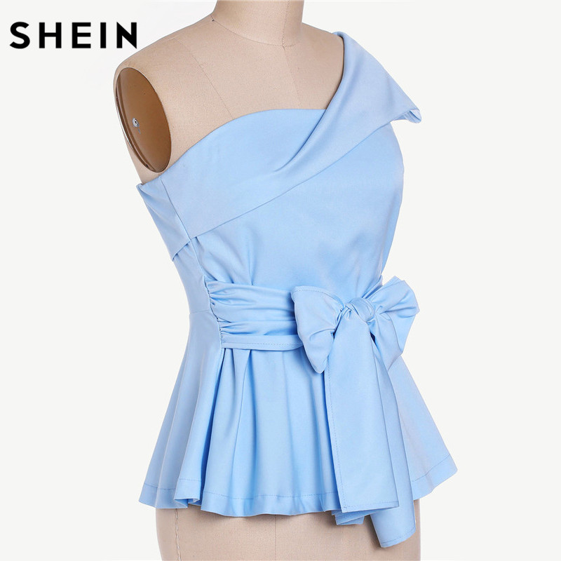 880bf89c91c0a SHEIN Women Blouses Summer 2017 Ladies Sexy Tops Blue Fold Over One  Shoulder Cap Sleeve Belted Tailored Peplum Top-in Blouses & Shirts from Women's  Clothing ...