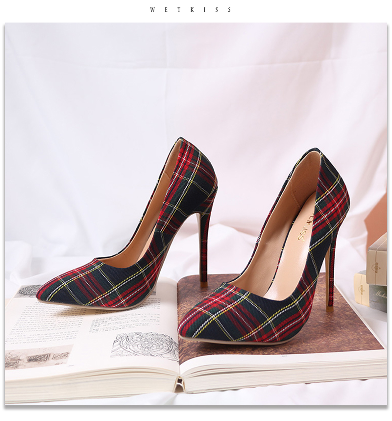 Pumps Heels Red Pointed Plaid Shoes 17