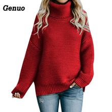 Genuo Womens Turtleneck Sweater Plus Size Female Casual Loose Long Sleeve Warm Pullover Winter Cable Knitted