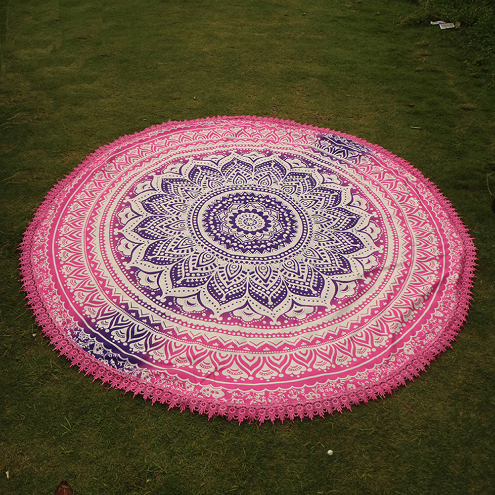 Handmade Summer Beach Towels Floral Printed Lace Tassels Round Blanket Bath Towel Swim Cover-ups High water absorbent Yoga Mat 4