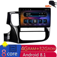 10.1 4G RAM 8 cores Android Car DVD GPS Navigation For Mitsubishi Outlander 2014 2015 2016 audio stereo car radio headunit wifi