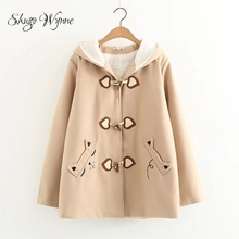 Shugo Wynne Outwear 2018 Winter New Women Cute Hooded Long Sleeve Cat Embroidery Velvet Thick Jacket Horn Button Warm Coat