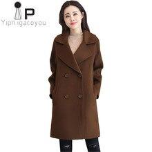 b9da3eb69 Inverno Mulheres Casaco de Lã Preto De Lã Casaco Plus Size Outono Longo  Casaco De Lã