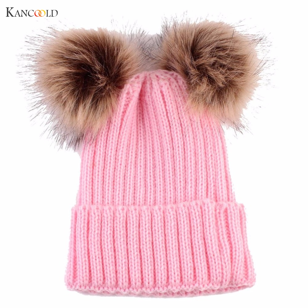 2017 Unisex Kids Ages Warm Chunky Thick Stretchy Knit Beanie Newborn Cute Pom Pom Hat Knitted Wool Hemming Hats Pompom Cap c87 skullies beanies newborn cute winter kids baby hats knitted pom pom hat wool hemming hat drop shipping high quality s30