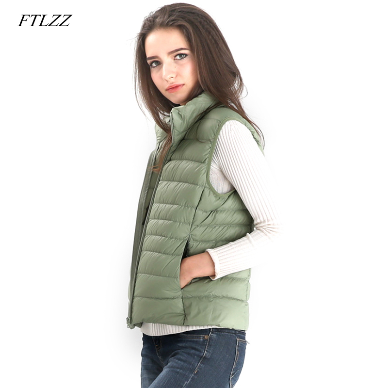 FTLZZ Women Ultra Light White Duck   Down   Vest   Coat   Female Slim Sleeveless Jacket Women Windproof Warm Waistcoat