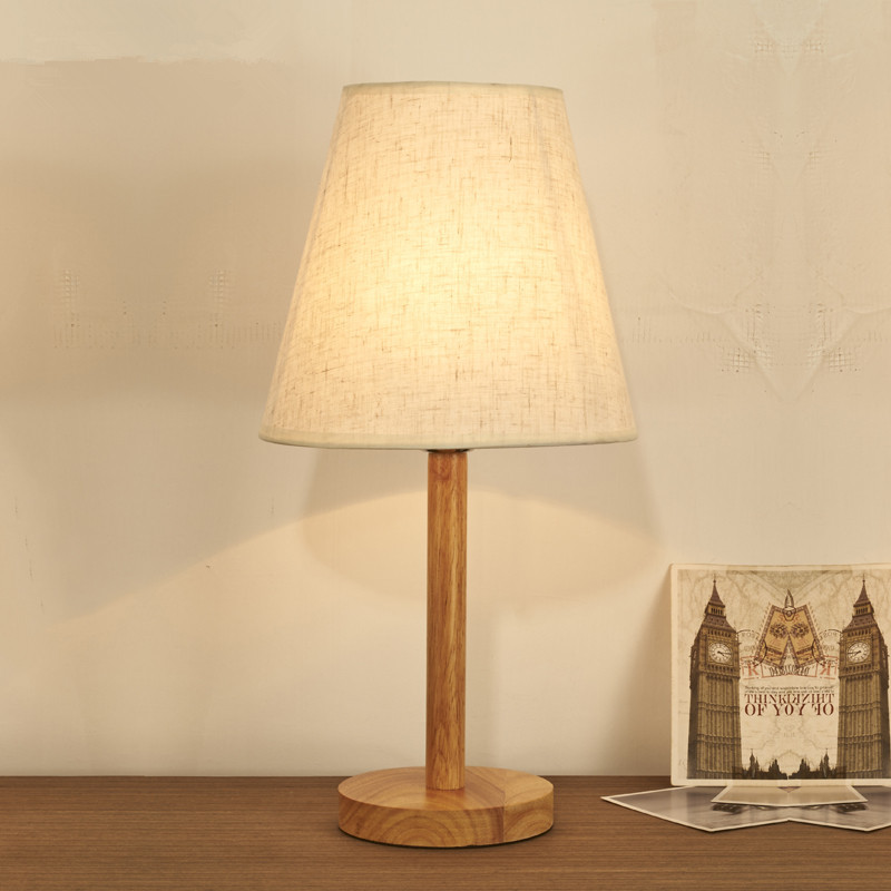 ФОТО Novel wooden Table Lamp 420mm Modern Industrial lamp wood&cloth table lamp for reading Style desk lighting E14 Bedside lamp