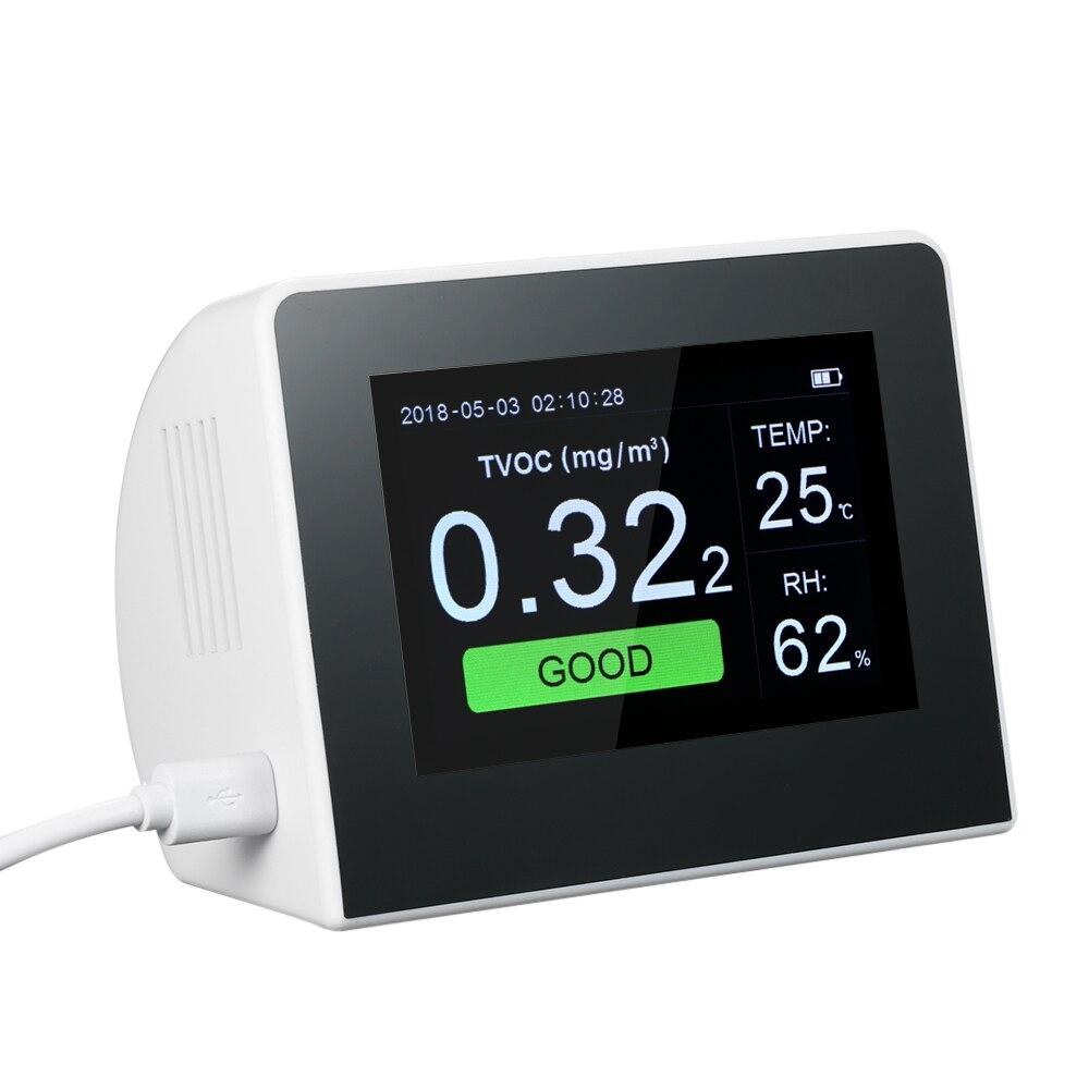 KKMOON analyseur de gaz multifonctionnel détecteur de qualité de l'air CO2 mètre moniteur CO2 intérieur/extérieur numérique HCHO & tcov testeur