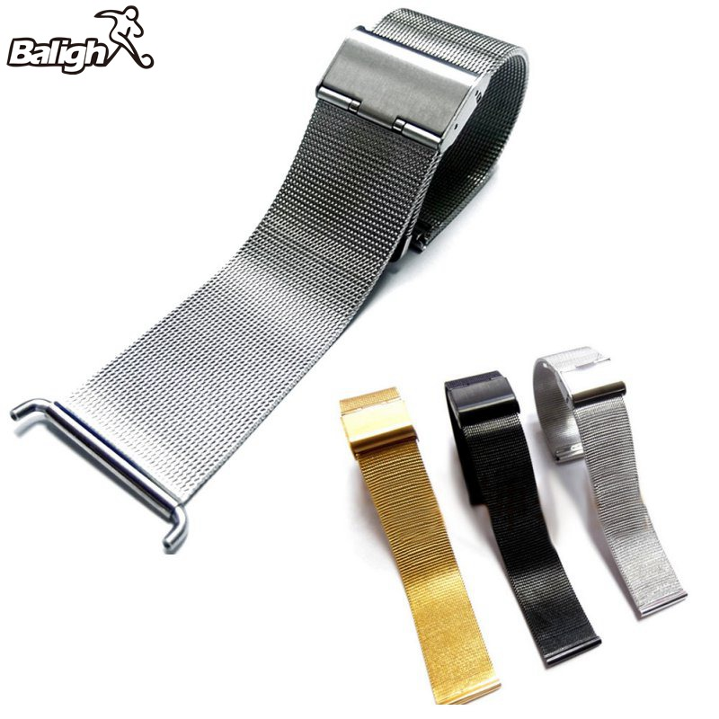 все цены на Stainless Steel Watch Mesh Strap Double Fold Over Clasp Buckle Width 18/20/22/24mm