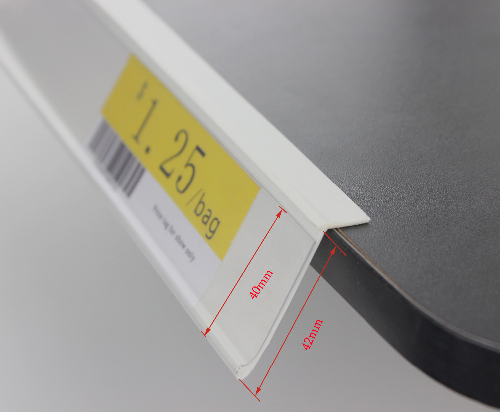 42mm width PVC white transparent price scan frame L angle adhesive shelf channel sign holder data