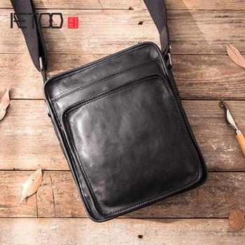 AETOO New handmade leather one-shoulder messenger bag mens casual retro suede soft Japanese Messenger