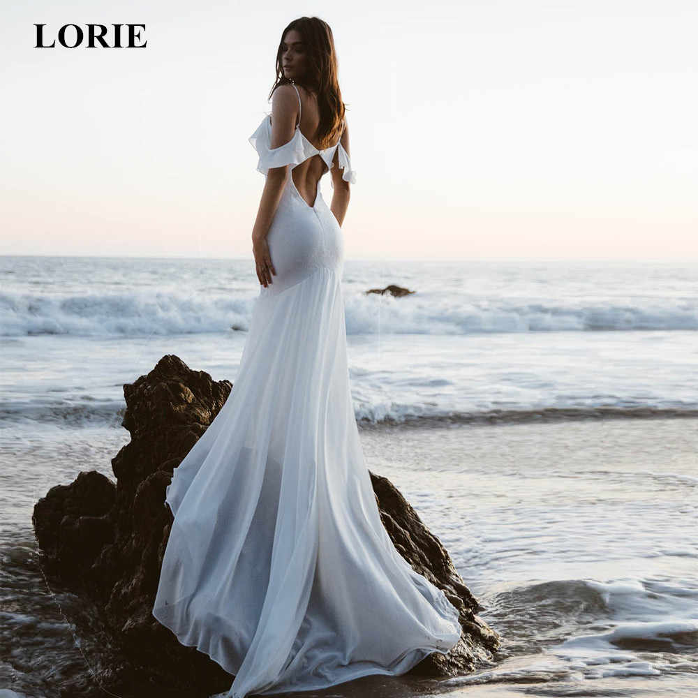 LORIE 2019 Mermaid Wedding Dresses V Neck Cintas de Espaguete Backless Praia Vestido de Noiva Chiffon Long Train vestido de noiva Novo