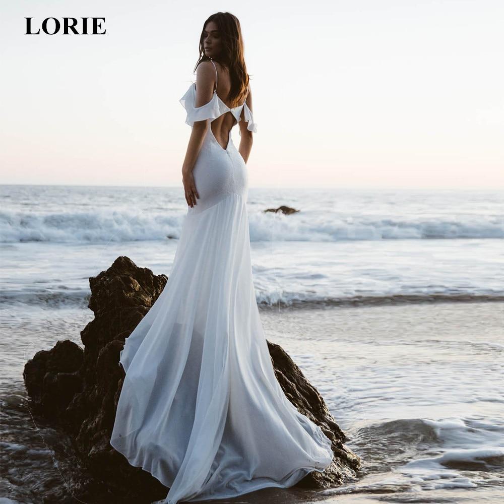LORIE 2019 Mermaid Wedding Dresses V Neck Spaghetti Straps Backless Beach Wedding Dress Chiffon Long Train Vestido De Noiva New