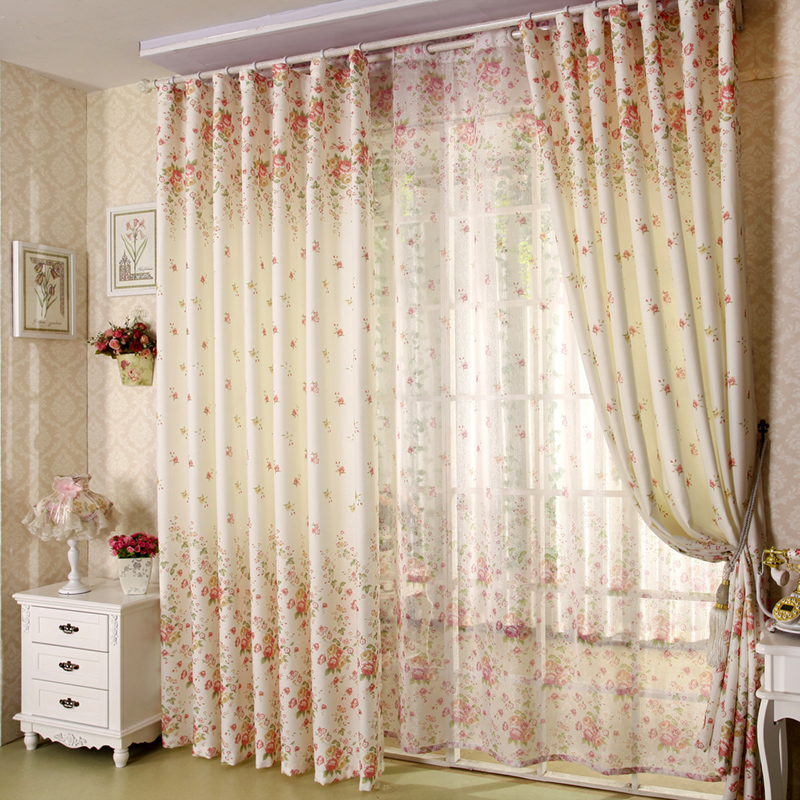 2017 New Curtains For Dining Living Bedroom Room high grade rural wind broken flower screens fresh