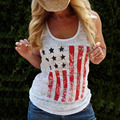 Sexy Cotton American Flag Print T Shirt 2017 Women Summer Tops Crops Striped Stretchy Jersey Ladies Shirt American Apparel XL