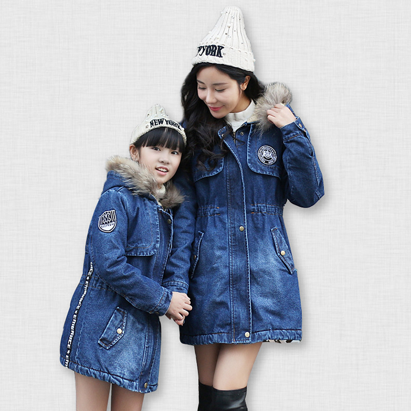 Mother Baby Matching Cartoon Clothes 2016 Mom Baby Clothes Family Clothing Mom Daughter Cotton Velvet Coat
