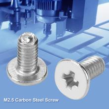 цена на 100Pcs M2.5 Flat Carbon Steel Head Screws Machine Screw Machinery Repair Parts screw nut Fastener parafuso Best Offer Wholesale