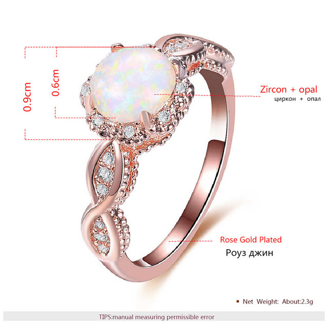 BOAKO Elegant Rainbow Opal Ring Fashion White CZ Wedding Jewelry Rose Gold Filled Engagement Promise Rings for Women anillos 2