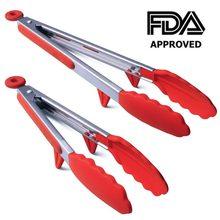 LMETJMA-Pinzas de cocina de acero inoxidable resistentes al calor, pinzas para barbacoa con puntas de silicona y diseño de soporte para parrilla de ensalada, KC0254