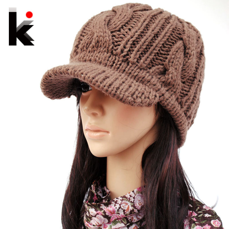 d36e4cb9bb01de Winter knitted hat wide brim quality female knitted hat ear cap hats for  women-in Women's Skullies & Beanies from Apparel Accessories on  Aliexpress.com ...