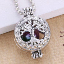 6pcs Bright Silver Life Tree Hollow Design Jewelry Making Supplies Alloy Trendy Pearl Cage Locket Pendant Essential Oil Diffuser(China)