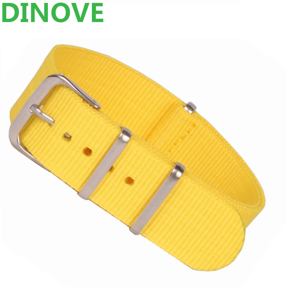 купить DINOVE Yellow Watch Band Classic 18 20mm Army Military nato fabric Nylon Watch watchbands Woven Straps Bands Buckle belt 20mm по цене 231.47 рублей