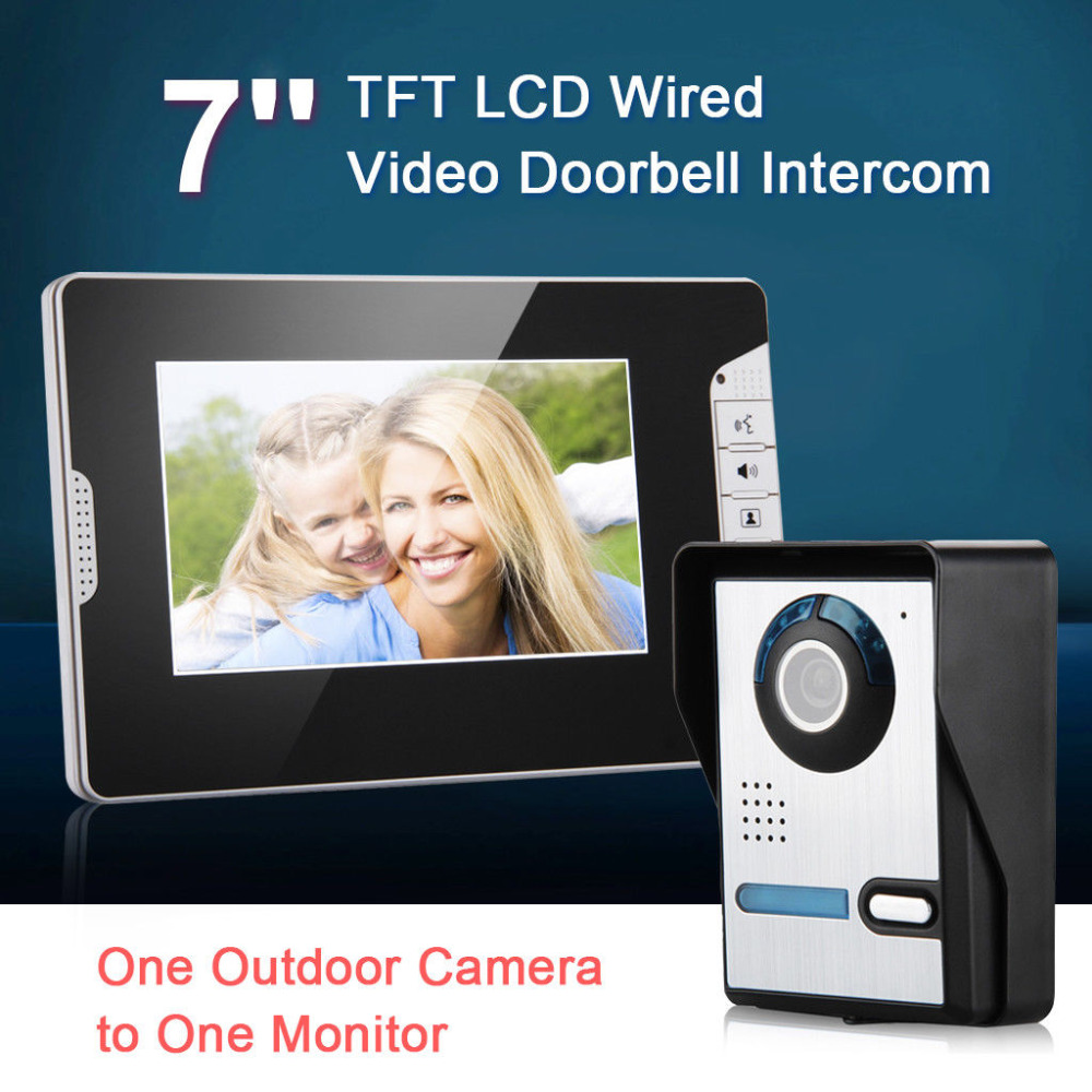 7 Inch Wire Color LCD Video Door Phone Doorbell Intercom Kit Visual Video Intercom With IR-CUT HD 700TVL Rainproof Camera Unlock