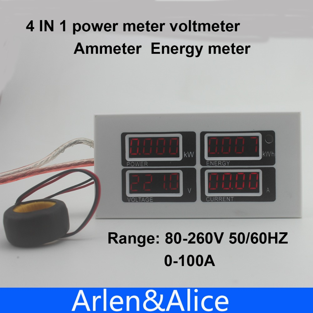 4IN1 display 100A LED with CT Voltage current active power energy meter panel voltmeter ammeter kwh 80-260V 50/60HZ