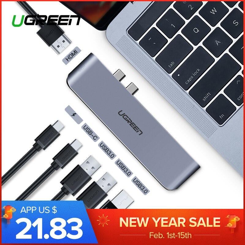 Ugreen USB C Dual tipo C para USB 3,0 divisor HDMI adaptador para MacBook Pro 2016/2017/ 2018 Thunderbolt 3 USB-C Puerto USB HUB