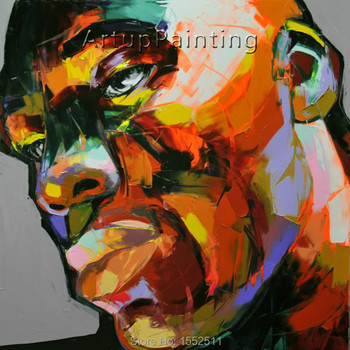 Palette knife painting portrait Palette knife Face Oil painting Impasto figure on canvas Hand painted Francoise Nielly 12-32
