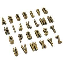 25 шт./лот-A-Z античные бронзовые буквы алфавита, DIY Fit 7 мм плоский кожаный браслет